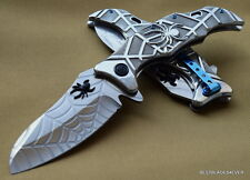 MASTER COLLECTION FANTASY SILVER FINISH SPIDER DESIGN SPRING ASSISTED KNIFE