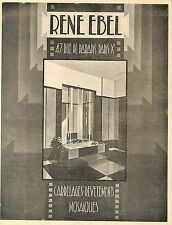 PARIS RUE DE PARADIS CARRELAGES RENE EBEL, DALLAGE MOSAIQUES PUBLICITE 1934