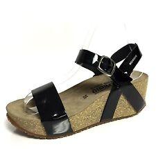 Women's Black Mephisto Strap Wedge Sandals Size 35 EU ^