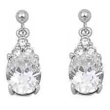 DANGLING OVAL WHITE CZ .925 Sterling Silver Earrings