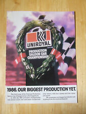 UNIROYAL TYRES PRODUCTION CAR 1986 POSTER ADVERT READY TO FRAME A4 SIZE
