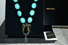 "NWT $270 HEIDI DAUS ""Beetle Mania"" Beaded Drop Turquoise Pendant NECKLACE"