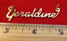 """14KT GOLD EP """"GERALDINE"""" PERSONALIZED NAME PLATE WORD CHARM PENDANT 6144a"""
