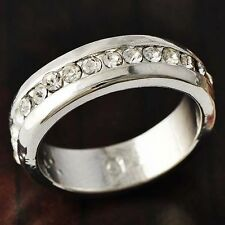 Brilliant CZ Band Ring White Gold Filled for Womens Gift  Size 7 Free Shipping