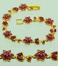 FASHION JEWELRY GEM 14K YELLOW GOLD RED RUBY SAPPHIRE lady BANGLE BRACELET B64