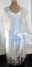 Edwardian / 20s Style White Lace Dress w/ Added Slip  sz XS