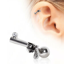 New Novelty Surgical Steel Gun Tragus Cartilage Ear Stud Bar 16g