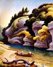 Benton Hart Thomas Jon Boat Buffalo River Canvas 16 x 20  #4663