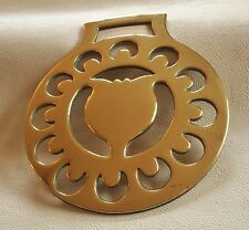 ANTIQUE STAMPED HORSE BRASS - A TULIP & CRESCENT MOONS PATTERN