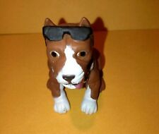 """HOOD HOUND PUPPIES - """"BROWN PIT BULL DOG"""" PITBULL FIGURE 1 3/4"""" with glasses"""