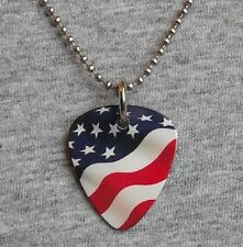 Metal Guitar Pick Necklace - AMERICAN FLAG - usa stars & stripes us - pendant