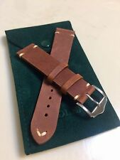 20mm Genuine Leather Watch Band Strap Handmade Brown fits Rolex Tudor All Brands