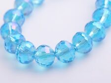 20pcs 10mm 96Facet Round Faceted Charms Crystal Glass Loose Beads Sky Blue AB
