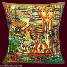 "NEW Egyptian Pharaoh Symbols Bird  Fish Multi Colour 16""  Pillow Cushion Cover"