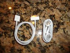 OEM Genuine Authentic Original Apple iPhone 4s Earbuds and Charger Data Cable