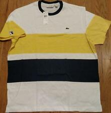 Mens Authentic Lacoste Colorblock T-Shirt White/Midnight Blue/Gold 7 2XL $75