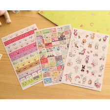 6 Sheets Rabbit Diary Book Sticker Scrapbook Calendar Notebook Label Cute