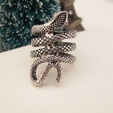 Silver Vintage Snake Cocktail Band Ring JZ0240