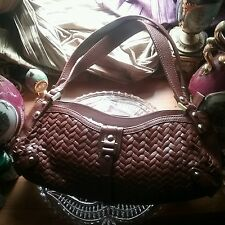 NWT$250.00 .Cole Haan Woven Leather Brown  Hand Bag Purse