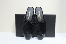 New sz 6 / 36 CHANEL Quilted Black Velvet Mule Flat Logo Cap Toe Slip on Shoes