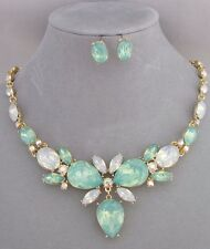 Green Opal Essence Rhinestone Necklace Earrings Set Gold Fashion Jewelry NEW
