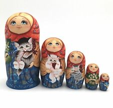 Girl with a Kitty Cat  Russian Nesting DOLL Hand Painted Babushka