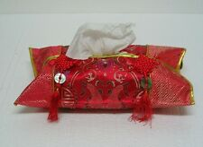 New Chinese Red Silk Tissue Box Cover with Tassel FZS01