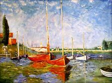 Stretched Hand Painted Oil Painting, Claude Monet Red Boats Repro 36x48in