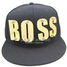 Trendy Snapback Baseball Flat Cap Hat Gold Mirror BOS S Letter Word Screw Hiphop