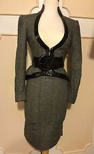 bebe CROCO TWEED SUIT SKIRT& BLAZER/JACKET~GREY W/BLACK~SIZE 2 & 0 XS/S~GORGEOUS