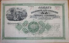 1889 Stock Certificate: 'Ashley's Bromine & Arsenic Spring Co.' - Bristol, TN