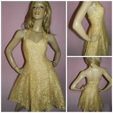 80s GOLD LACE HALTERNECK BACKLESS SWING PROM PARTY DRESS 8-10 S 1980s