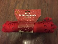 1m.Felt Red Xmas.Christmas Snowflake Table Runner Dining Decorations Cloth Cover
