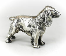 Silver Plate Cocker Spaniel Dog Figurine Standing Posed Position