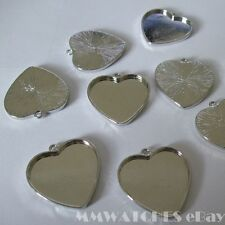 NEW HEART SILVER GOLD BRONZE CAMEO CABOCHON PENDANT SETTING TRAY 24mm x 23mm C19