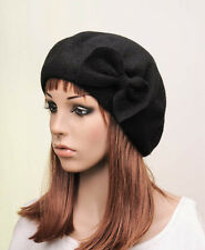 M332 Black Classic Bow Warm Wool Winter Hat Beanie Beret Cap Women's New