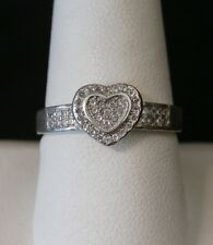 Gorgeous Vintage Sterling Silver CZ Heart Ring  Size 9  Make An Offer! #1338