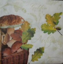 4 X SINGLE  PAPER NAPKINS  TABLE PARTY LEAVES ,MUSHROOMS DECOUPAGE  CRAFTING-8