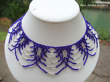Cobalt Blue Silver Crystal Glass Seed Bead Draped Princess Necklace Netted