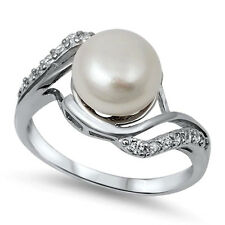 USA Seller Genuine Freshwater Pearl Ring Sterling Silver 925 Best Jewelry Size10