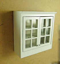 Dollhouse Miniature White Upper Kitchen Cabinet, Faux Glass Doors, T5374