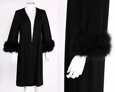 VTG 60s EDITH FLAGG CALIFORNIA BLACK MARABOU FEATHER TRIM ROBE NEGLIGEE SZ S / M