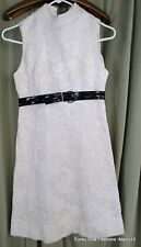 Cute Vintage 70's Off White Quilted Jacquard Sleeveless Dress Bust 30""