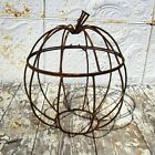 """18.5"""". Large Wrought Iron Pumpkin with Hinged Lid Fall Decoration Halloween"""
