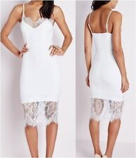 Missguided Eye Lash Lace Bodycon Dress White UK 6 US 2 EUR 34 (CAD16)