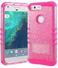 PINK Phone Cover For Google Pixel XL Case Dual Layer GLITTER Bling Sparkling