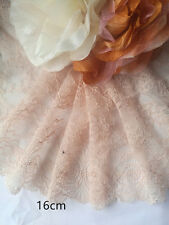 Wholesale 6 yards Beige galloon stretch Elastic Lace  trim sewing craft  16cm