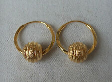 9ct Gold Plated Bead Drop Hoop Earrings 20mm x 1.5mm.