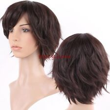 Vogue Short Brown Wigs Curly Wave Straight Synthetic Hair Full Wig With Bangs GH
