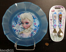 """NEW Disney Store FROZEN Anna Elsa SPOON FORK Flatware AND Blue PLATE 8.5"""" Childs"""